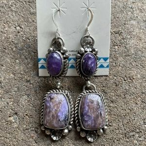 Native American Sterling Silver Charoite Earrings.